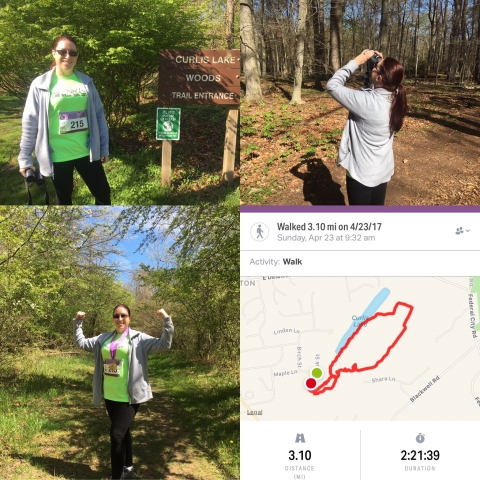 Completed my #LabWeekRun on the 1st day of #labweek & it was amazing! I combined it with a birding hike which is why the time was so long. Saw a Great Horned Owl, a Red Headed Woodpecker & my favorite HS teacher, lol! It was a big deal too because just a month ago I could barely walk a 1/2 mile after needing emergency back surgery on 1/30/17. It was rough, hilly terrain that required some jumping & I feel great! #lab4life #ASCLSbetheface #iamascls #asclsnj